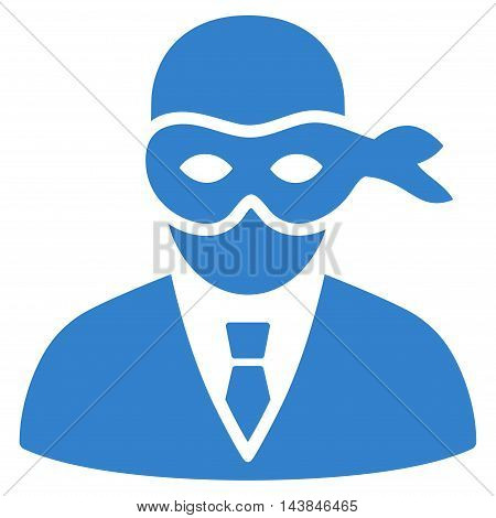 Masked Thief icon. Vector style is flat iconic symbol with rounded angles, cobalt color, white background.