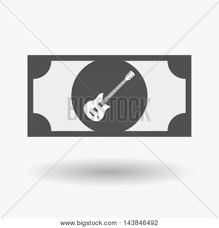 Isolated  Bank Note Icon With  An Electric Guitar
