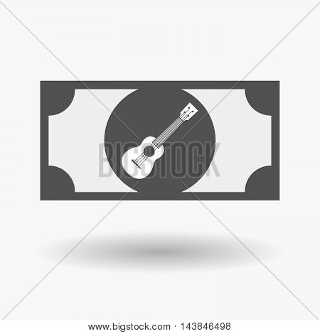 Isolated  Bank Note Icon With  An Ukulele