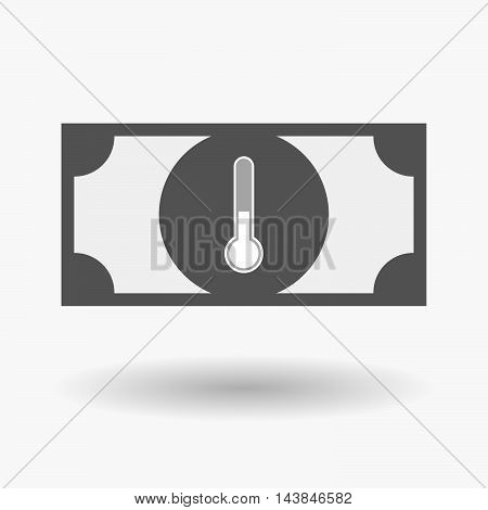Isolated  Bank Note Icon With  A Thermometer Icon