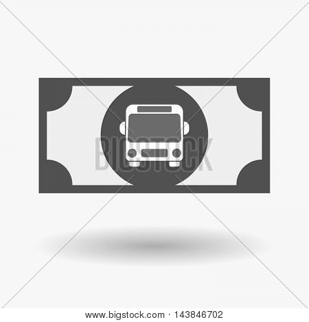 Isolated  Bank Note Icon With  A Bus Icon