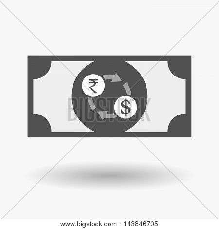 Isolated  Bank Note Icon With  A Rupee And Dollar Exchange Sign