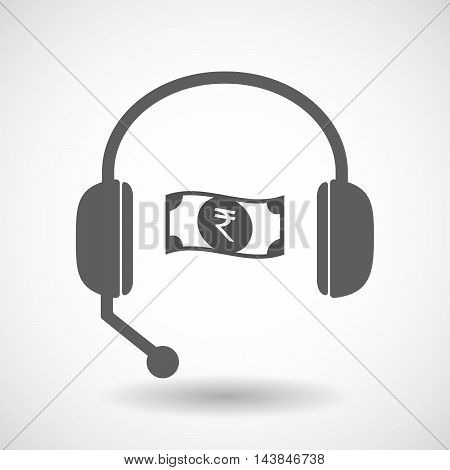 Isolated  Hands Free Headset Icon With  A Rupee Bank Note Icon