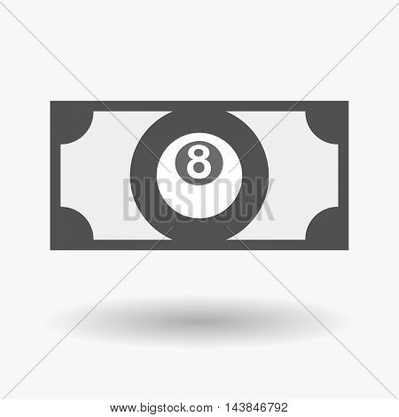 Isolated  Bank Note Icon With  A Pool Ball
