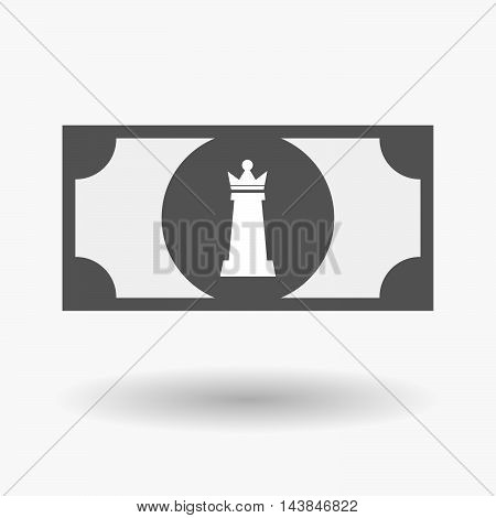 Isolated  Bank Note Icon With A  Queen   Chess Figure