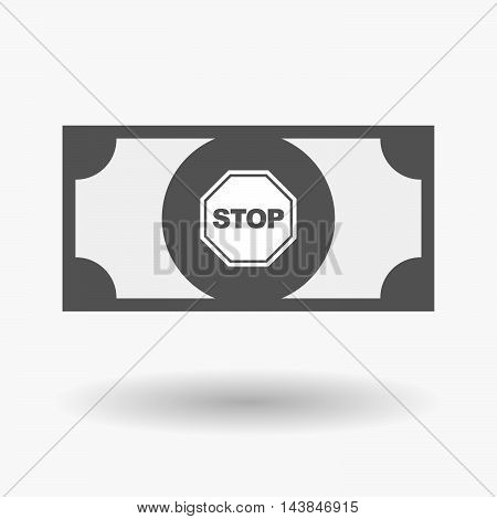 Isolated  Bank Note Icon With  A Stop Signal