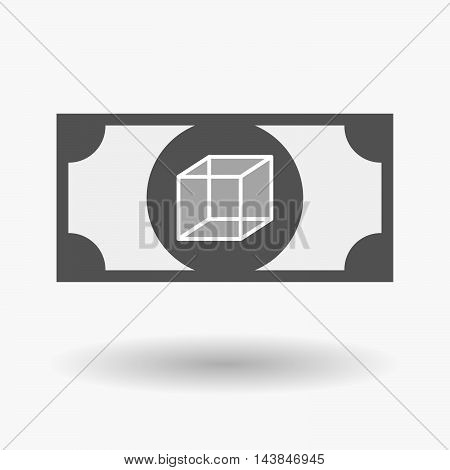 Isolated  Bank Note Icon With  A Cube Sign