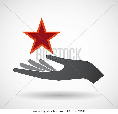 Isolated  Offerign Hand Icon With  The Red Star Of Communism Icon
