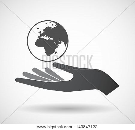 Isolated  Offerign Hand Icon With   An Asia, Africa And Europe Regions World Globe
