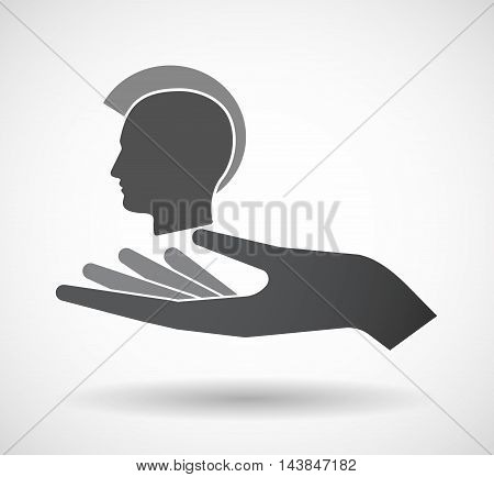 Isolated  Offerign Hand Icon With  A Male Punk Head Silhouette
