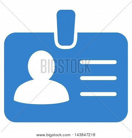Person Badge icon. Vector style is flat iconic symbol with rounded angles, cobalt color, white background.
