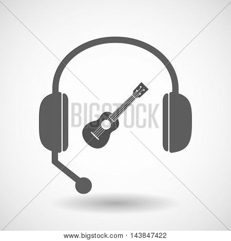 Isolated  Hands Free Headset Icon With  An Ukulele