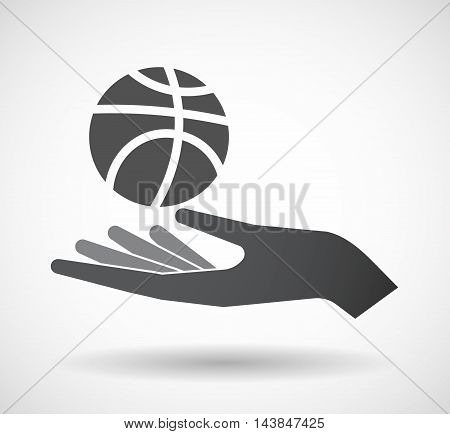 Isolated  Offerign Hand Icon With  A Basketball Ball