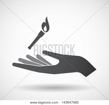 Isolated  Offerign Hand Icon With  A Torch Icon