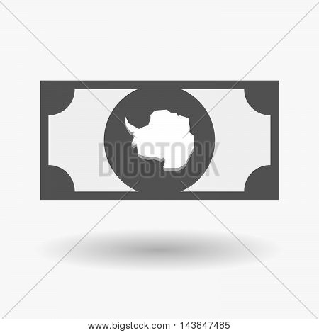 Isolated  Bank Note Icon With  The Map Of  Antarctica
