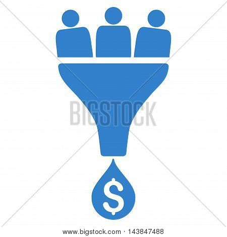 Sales Funnel icon. Vector style is flat iconic symbol with rounded angles, cobalt color, white background.