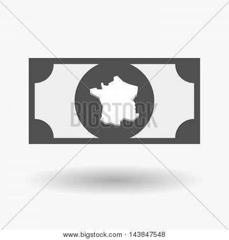 Isolated  Bank Note Icon With  The Map Of France