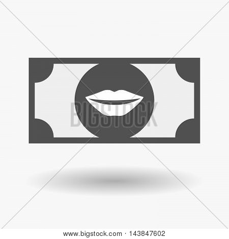 Isolated  Bank Note Icon With  A Female Mouth Smiling