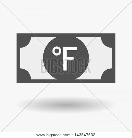 Isolated  Bank Note Icon With  A Farenheith Degrees Sign