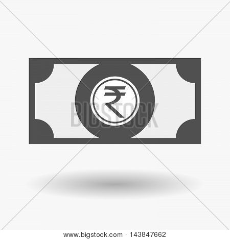 Isolated  Bank Note Icon With  A Rupee Coin Icon