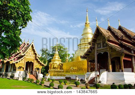 phra sing temple sky blue in chiangmai thailand