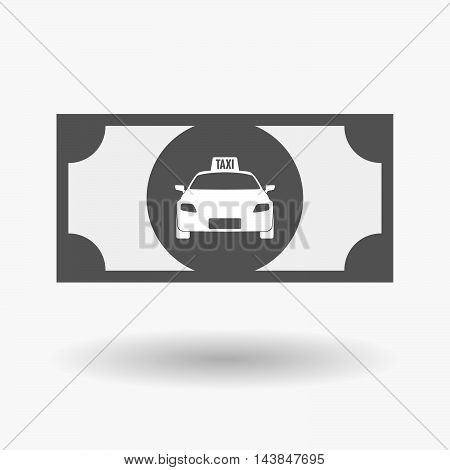Isolated  Bank Note Icon With  A Taxi Icon