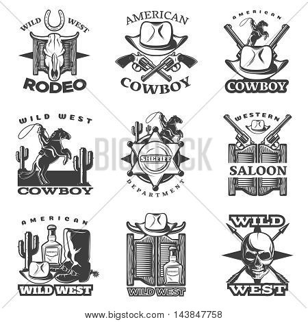 Black wild west emblem set with wild west rodeo American cowboy western saloon descriptions vector illustration