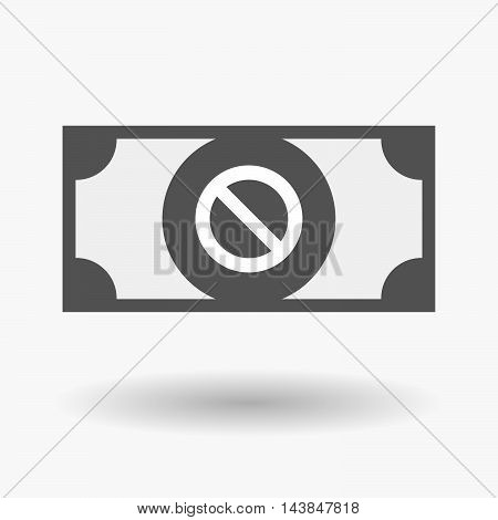 Isolated  Bank Note Icon With  A Forbidden Sign