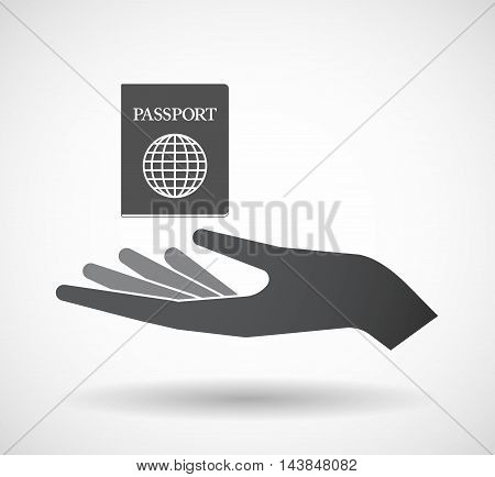 Isolated  Offerign Hand Icon With  A Passport