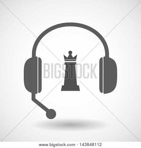 Isolated  Hands Free Headset Icon With A  Queen   Chess Figure
