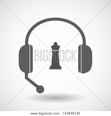 Isolated  Hands Free Headset Icon With A  King   Chess Figure