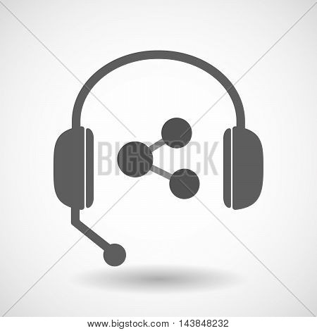Isolated  Hands Free Headset Icon With  A Network Sign