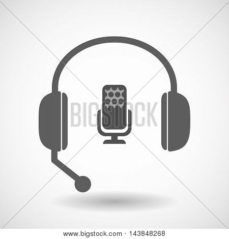 Isolated  Hands Free Headset Icon With  A Microphone Sign