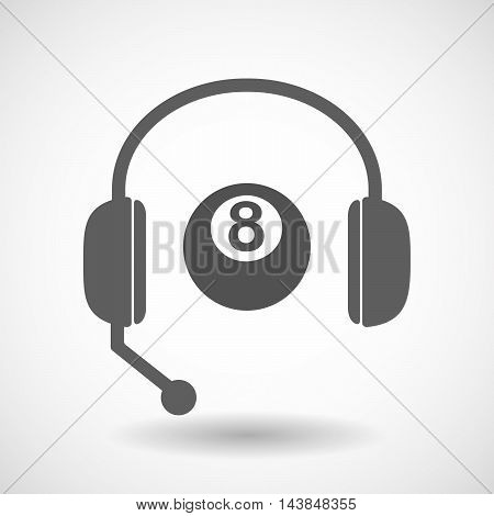 Isolated  Hands Free Headset Icon With  A Pool Ball