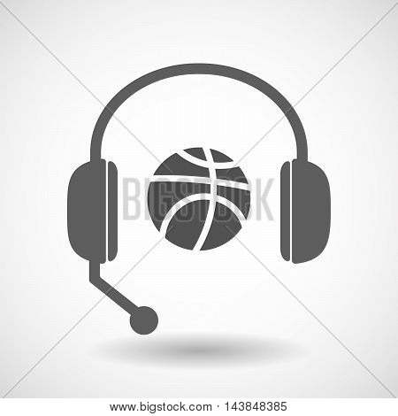 Isolated  Hands Free Headset Icon With  A Basketball Ball