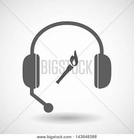 Isolated  Hands Free Headset Icon With  A Torch Icon