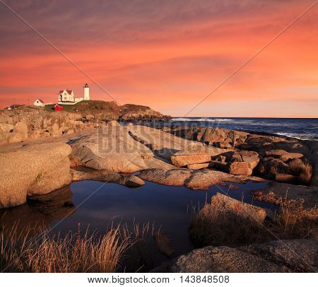 Sunset Skies At The Nubble Light A Pastoral New England Seascape And Lighthouse Cape Neddick Maine