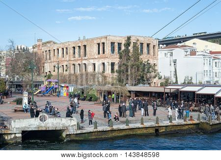 Istanbul, Turkey - January 20, 2013: Esma Sultan Mansion, a historical waterside mansion located at Bosphorus in Ortakoy neighborhood of Istanbul, named after its original owner Esma Sultan, used today as a cultural center after being redeveloped