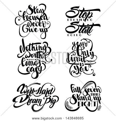 Set of decorative monochrome quotes with flourishes laurel leaves and different incline isolated vector illustration