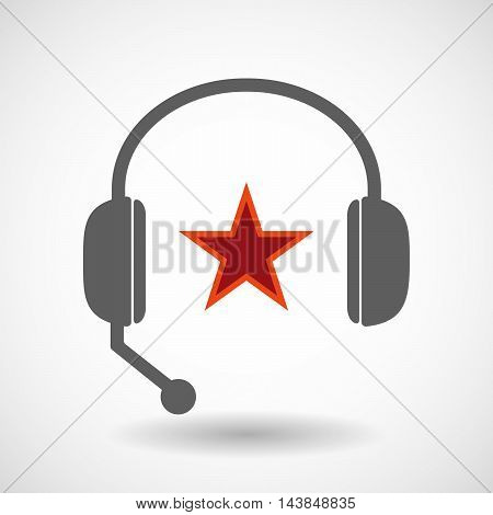 Isolated  Hands Free Headset Icon With  The Red Star Of Communism Icon