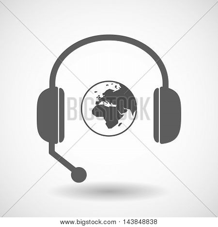 Isolated  Hands Free Headset Icon With   An Asia, Africa And Europe Regions World Globe