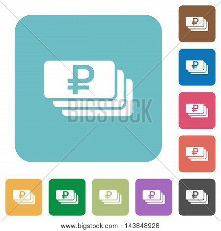 Flat Ruble banknotes icons on rounded square color backgrounds.