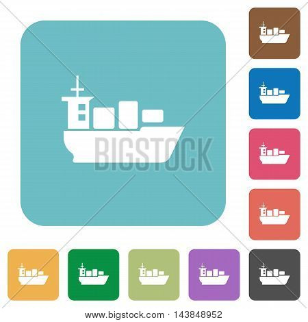 Flat sea transport icons on rounded square color backgrounds.