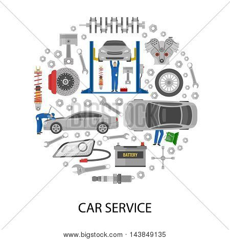 Auto service round design with cars mechanics work tools machine details on white background vector illustration