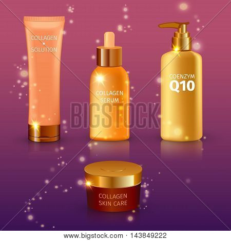 Realistic yellow collagen serum tubes icon set different size tubes on purple gradient background vector illustration