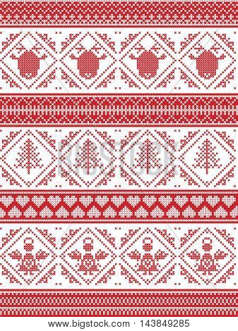 Scandinavian Printed Textile style and inspired by Norwegian Christmas and festive winter seamless pattern in cross stitch with angel, Christmas tree, heart, reindeer  and decorative ornaments