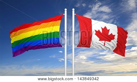 3d rendering rainbow colors flag with Canada flag