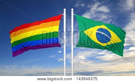 3d rendering rainbow colors flag with Brasil flag