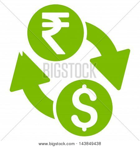 Dollar Rupee Exchange icon. Vector style is flat iconic symbol with rounded angles, eco green color, white background.
