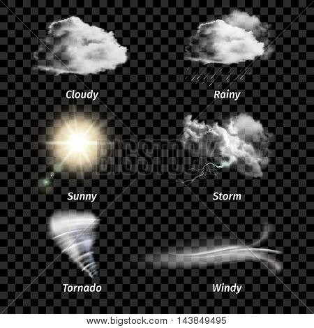 Realistic isolated colored weather icon set with type of weather on transparent background vector illustration